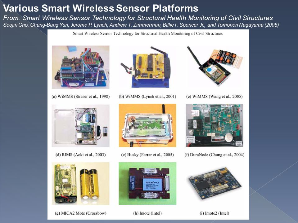 Various Smart Wireless Sensor Platforms From: Smart Wireless Sensor Technology for Structural Health Monitoring of Civil Structures Soojin Cho, Chung-Bang Yun, Jerome P.