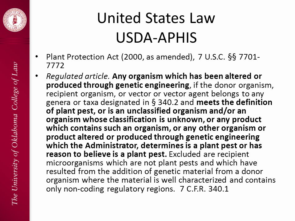 United States Law USDA-APHIS Plant Protection Act (2000, as amended), 7 U.S.C.