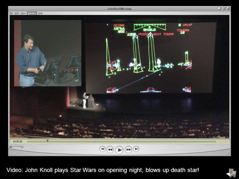 Video: John Knoll plays Star Wars on opening night, blows up death star!