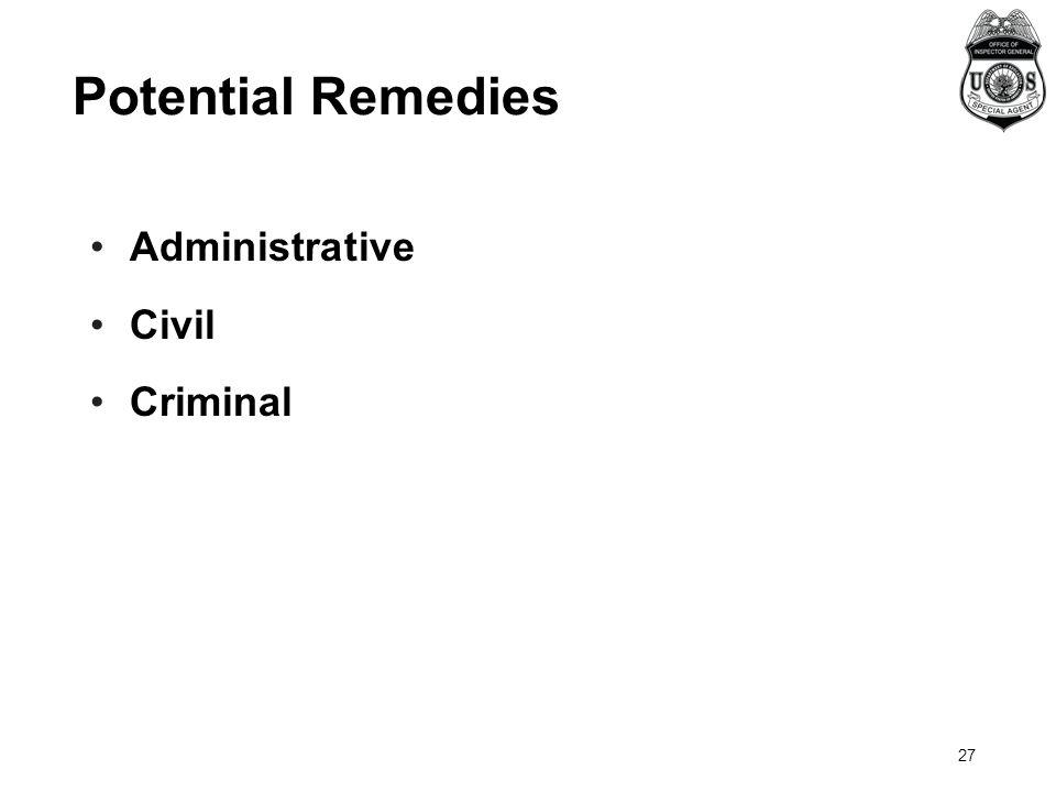 Administrative Civil Criminal Potential Remedies 27