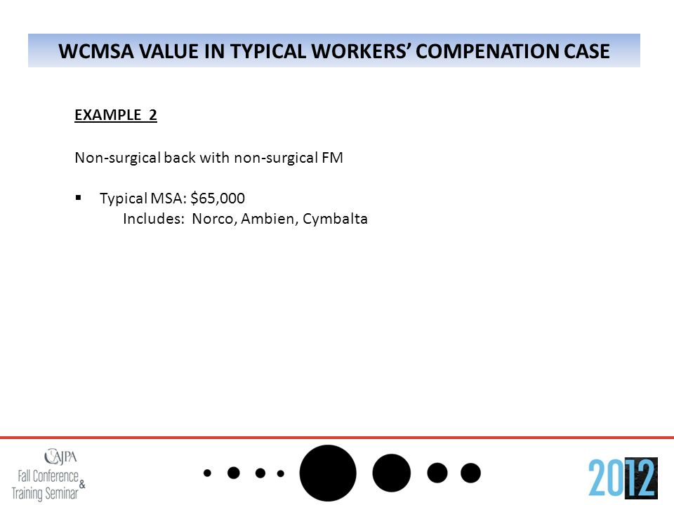 WCMSA VALUE IN TYPICAL WORKERS' COMPENATION CASE EXAMPLE 2 Non-surgical back with non-surgical FM  Typical MSA: $65,000 Includes: Norco, Ambien, Cymbalta