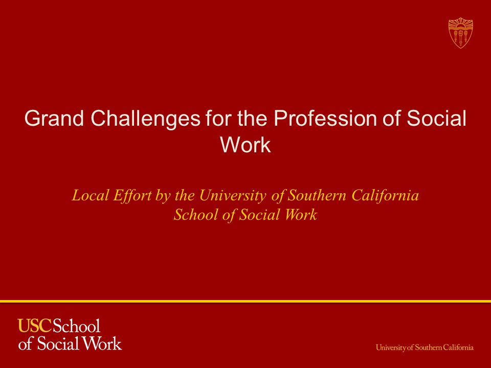 Grand Challenges for the Profession of Social Work Local Effort by the University of Southern California School of Social Work