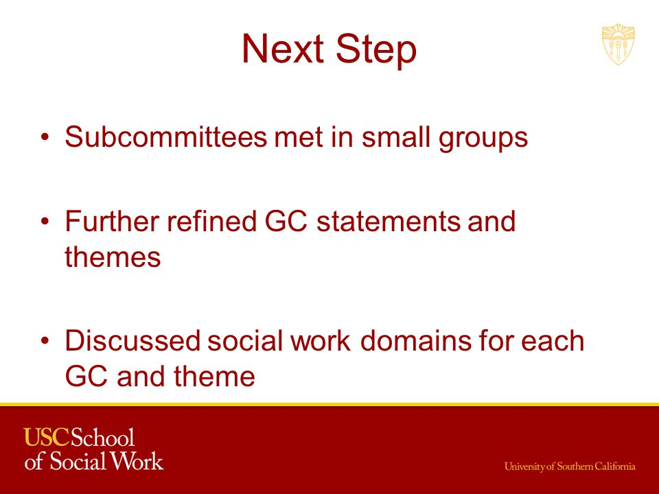 Next Step Subcommittees met in small groups Further refined GC statements and themes Discussed social work domains for each GC and theme