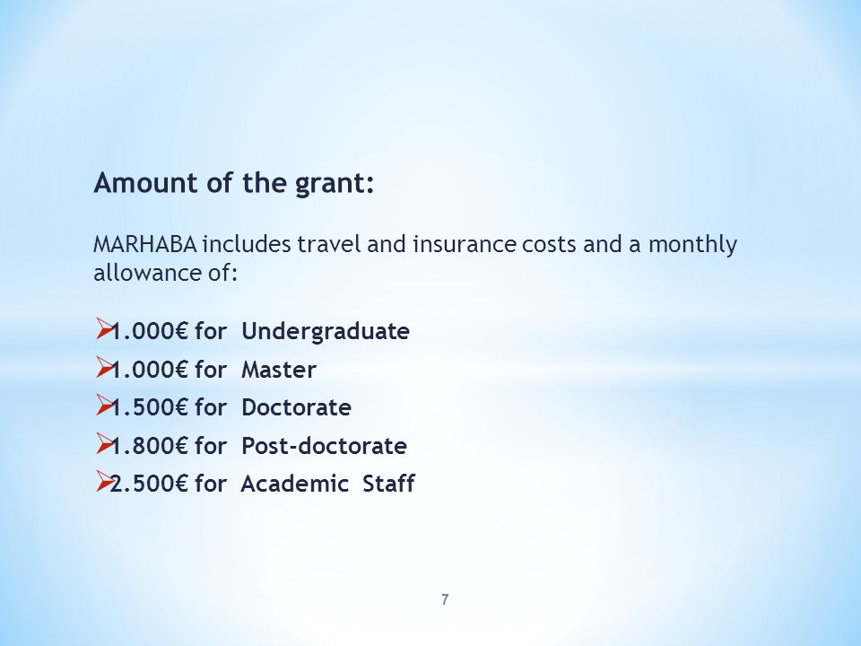 28 GENERAL PRE- SELECTION CRITERIA FOR HOST UNIVERSITIES MARHABA PROJECT- SELECTION CRITERIA% Academic record5 Language skills 30 Academic Suitability and relevance of the application 10 Motivation 05