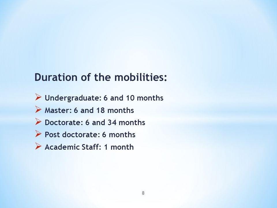 MOBILITY FROM EU TO MIDDLE EAST EuropeansTG1TG2TOTAL Undergraduate04 - Master08 0109 Doctorate09 0110 Post-doctorate01 02 Staff10- TOTAL320335 9