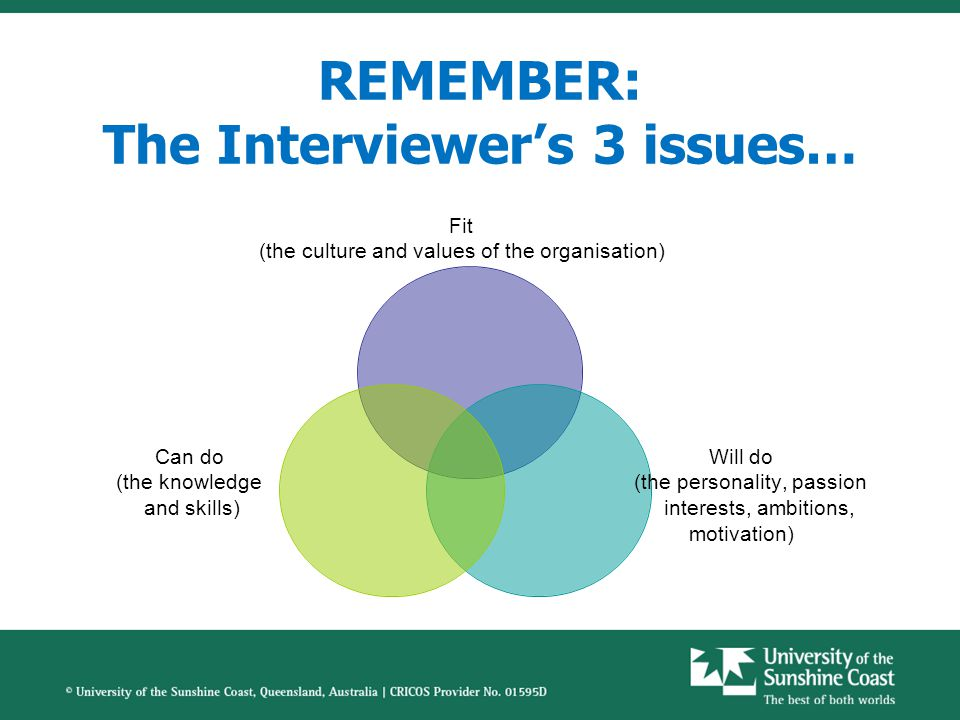 REMEMBER: The Interviewer's 3 issues… Fit (the culture and values of the organisation) Will do (the personality, passion interests, ambitions, motivation) Can do (the knowledge and skills)