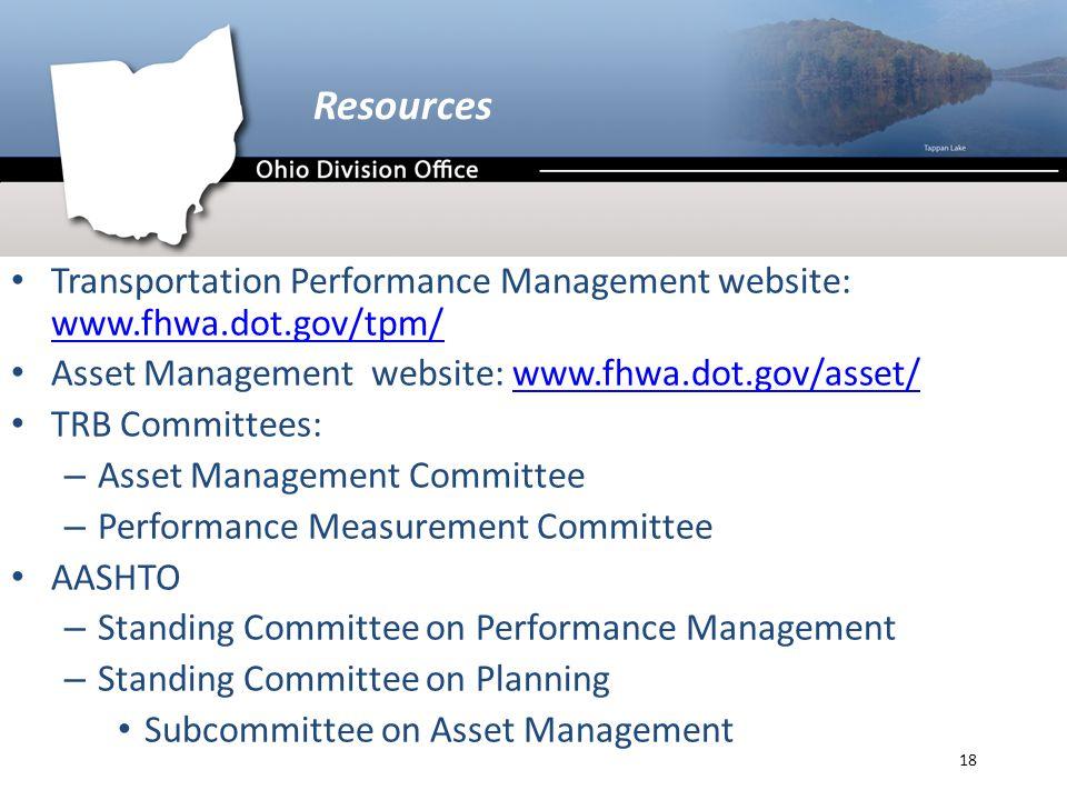 Resources Transportation Performance Management website: www.fhwa.dot.gov/tpm/ www.fhwa.dot.gov/tpm/ Asset Management website: www.fhwa.dot.gov/asset/www.fhwa.dot.gov/asset/ TRB Committees: – Asset Management Committee – Performance Measurement Committee AASHTO – Standing Committee on Performance Management – Standing Committee on Planning Subcommittee on Asset Management 18