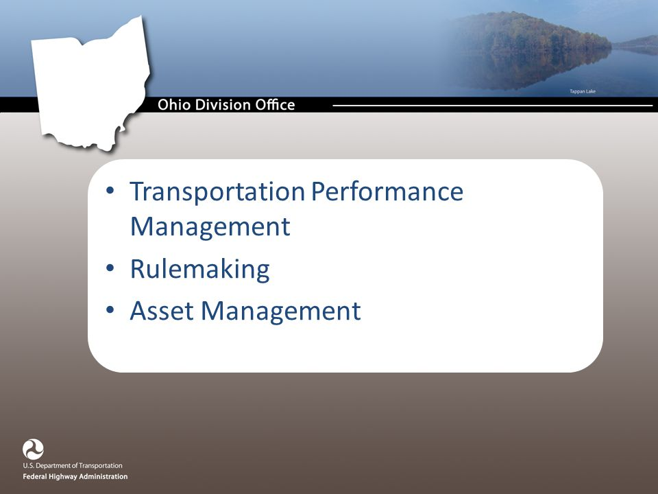 Transportation Performance Management Rulemaking Asset Management