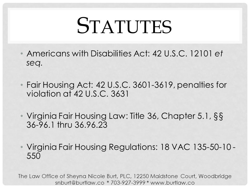 S TATUTES Americans with Disabilities Act: 42 U.S.C.