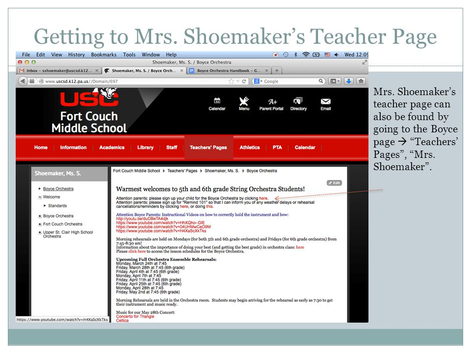 "Mrs. Shoemaker's teacher page can also be found by going to the Boyce page  ""Teachers' Pages"", ""Mrs. Shoemaker""."