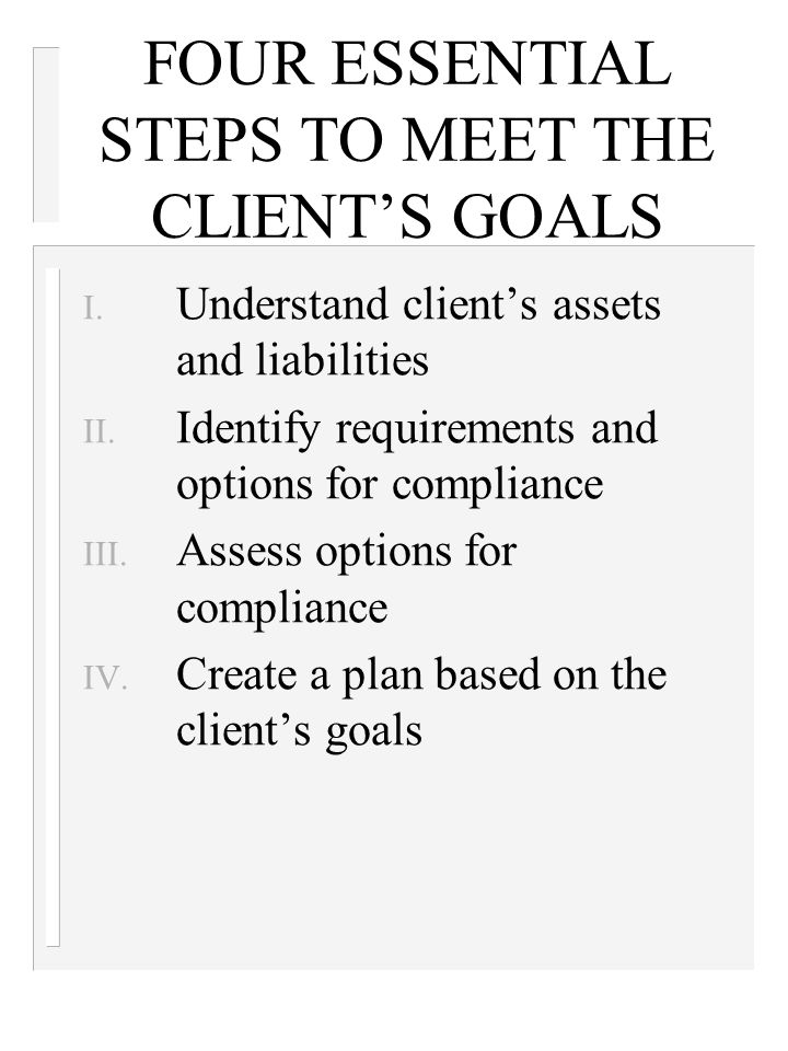 FOUR ESSENTIAL STEPS TO MEET THE CLIENT'S GOALS I.