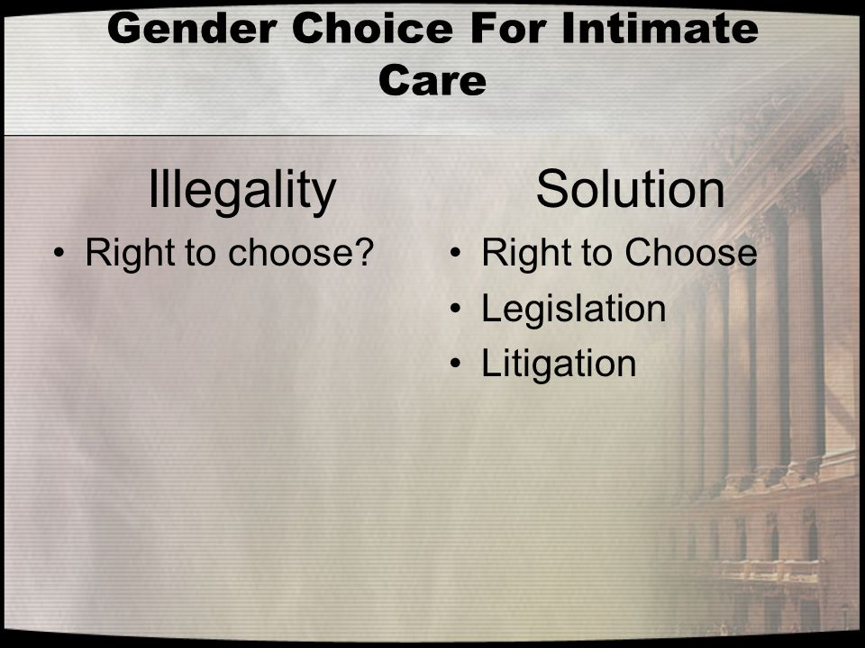 Gender Choice For Intimate Care Illegality Right to choose? Solution Right to Choose Legislation Litigation