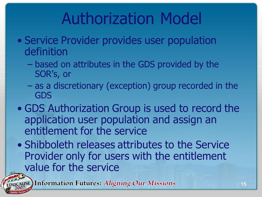 15 Authorization Model Service Provider provides user population definition –based on attributes in the GDS provided by the SOR's, or –as a discretionary (exception) group recorded in the GDS GDS Authorization Group is used to record the application user population and assign an entitlement for the service Shibboleth releases attributes to the Service Provider only for users with the entitlement value for the service