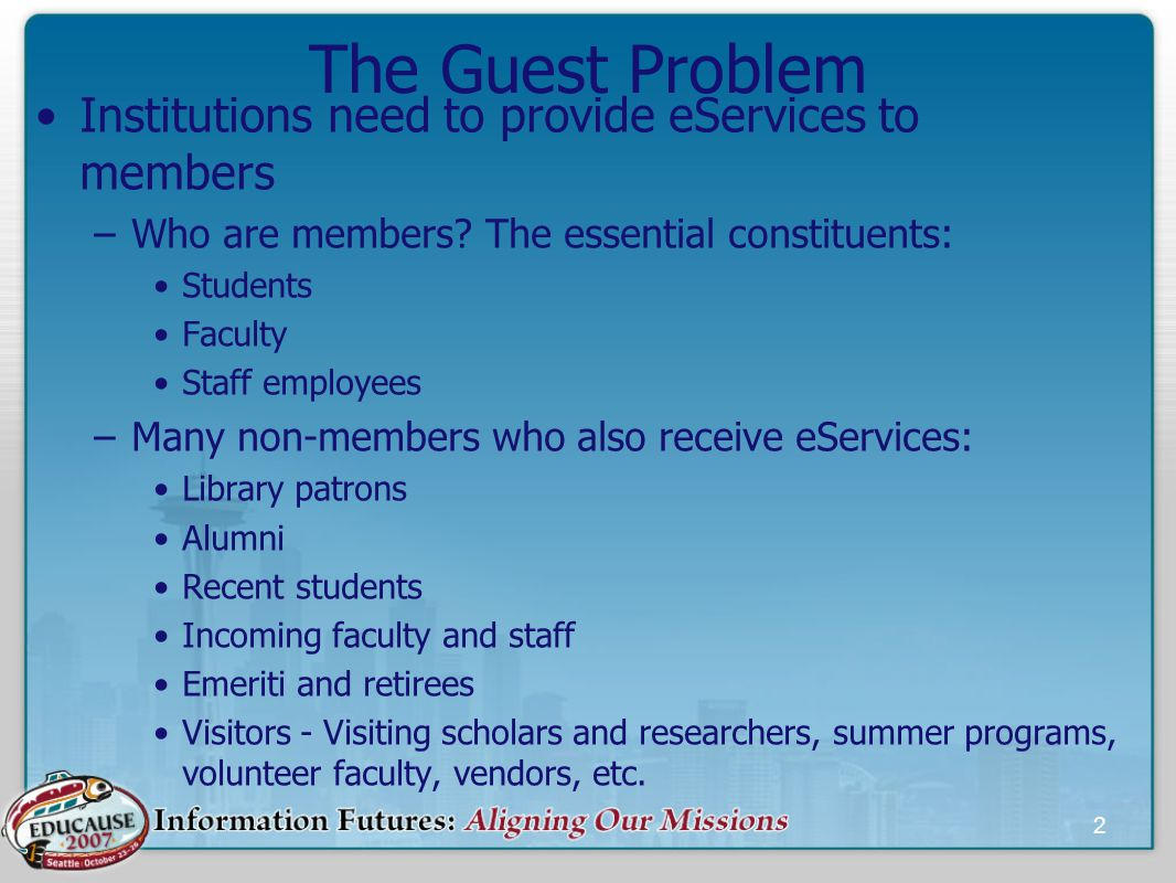 2 The Guest Problem Institutions need to provide eServices to members –Who are members.