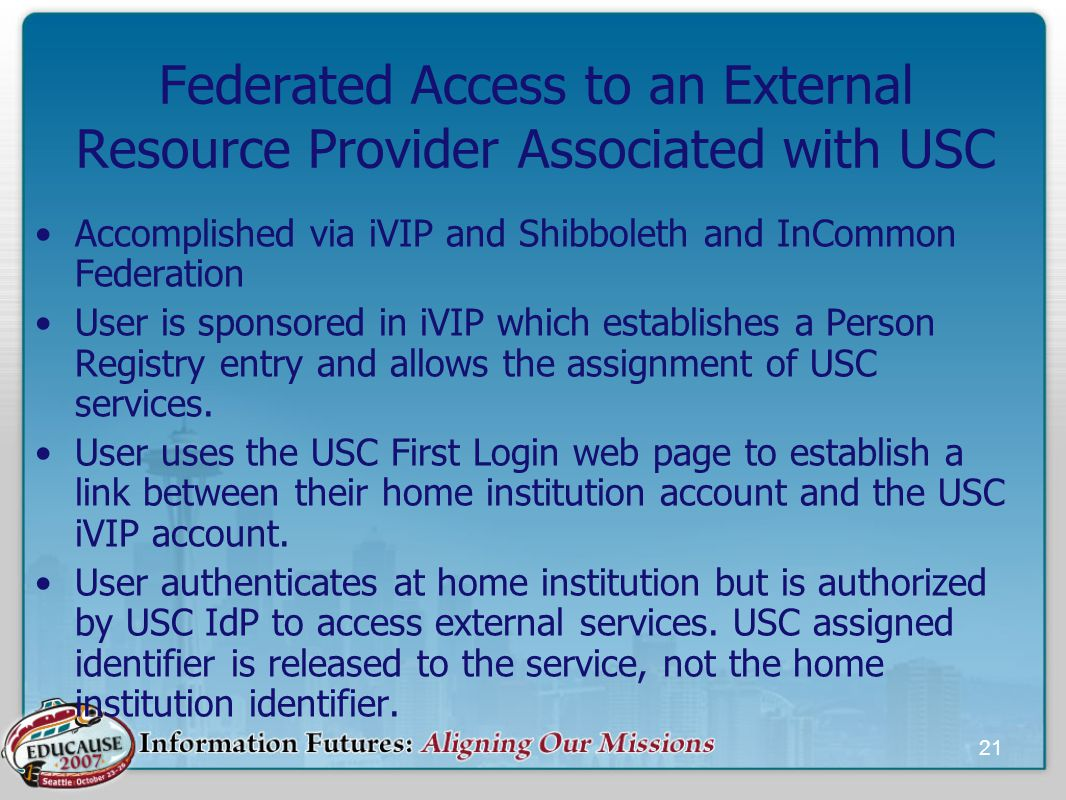 21 Federated Access to an External Resource Provider Associated with USC Accomplished via iVIP and Shibboleth and InCommon Federation User is sponsored in iVIP which establishes a Person Registry entry and allows the assignment of USC services.