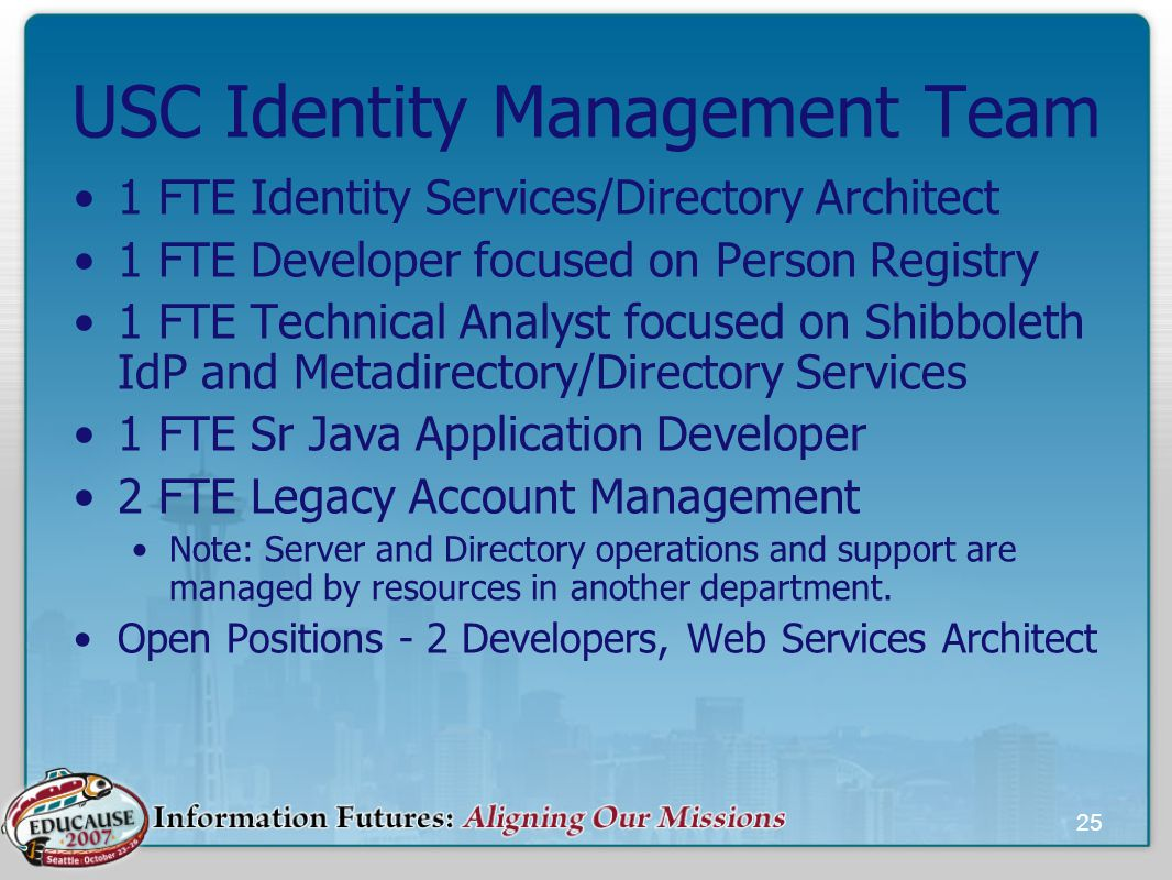 25 USC Identity Management Team 1 FTE Identity Services/Directory Architect 1 FTE Developer focused on Person Registry 1 FTE Technical Analyst focused on Shibboleth IdP and Metadirectory/Directory Services 1 FTE Sr Java Application Developer 2 FTE Legacy Account Management Note: Server and Directory operations and support are managed by resources in another department.