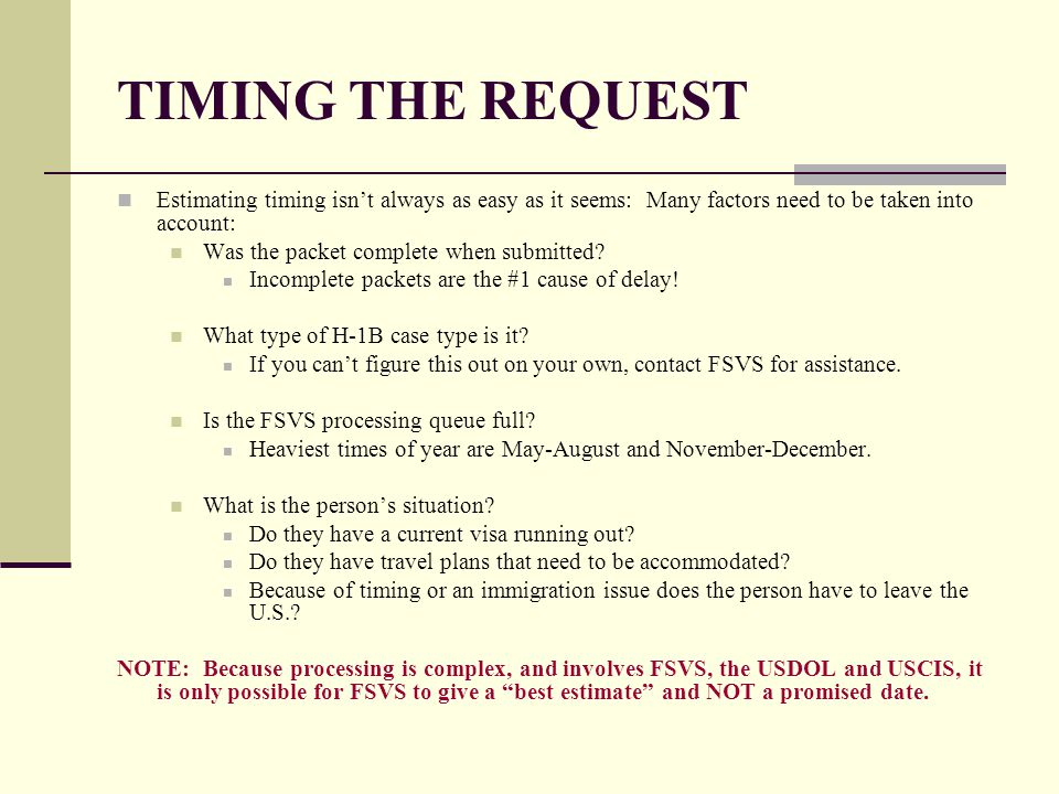 TIMING THE REQUEST Estimating timing isn't always as easy as it seems: Many factors need to be taken into account: Was the packet complete when submit
