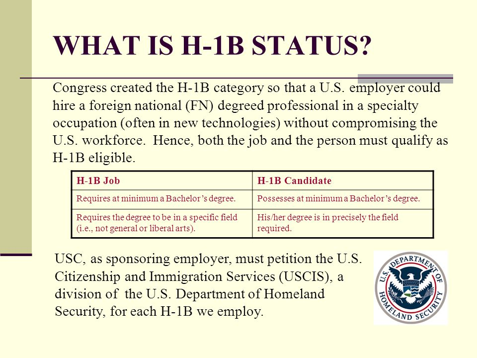WHAT IS H-1B STATUS? Congress created the H-1B category so that a U.S. employer could hire a foreign national (FN) degreed professional in a specialty