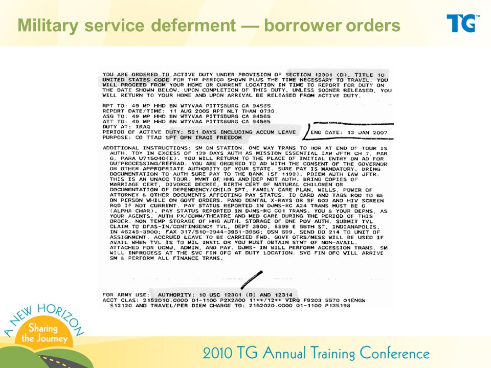 Military service deferment — borrower orders