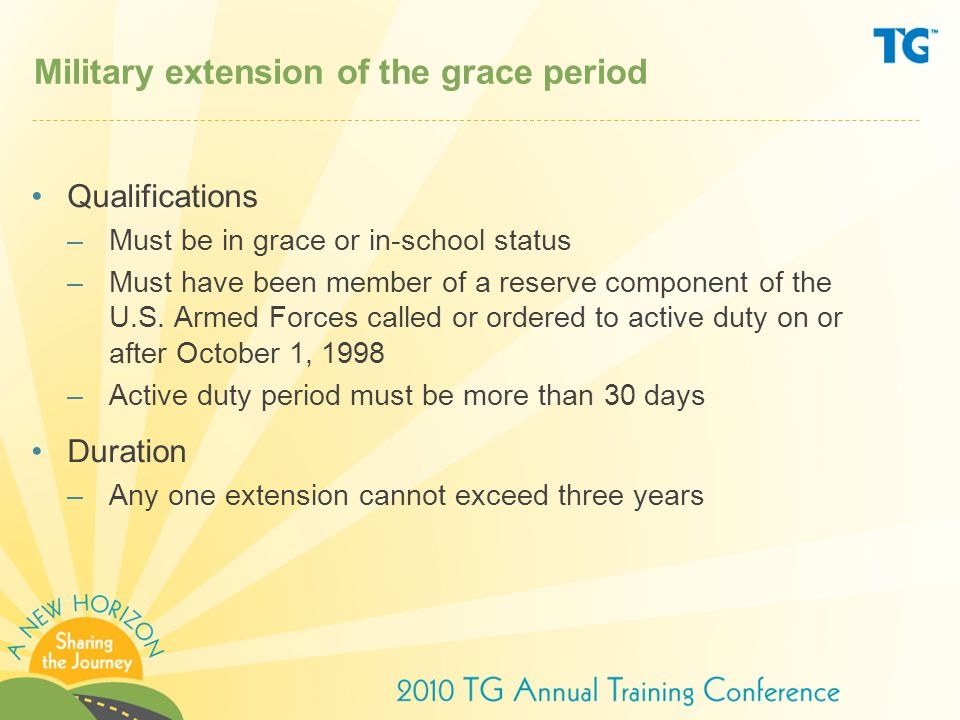 Military extension of the grace period Qualifications –Must be in grace or in-school status –Must have been member of a reserve component of the U.S.