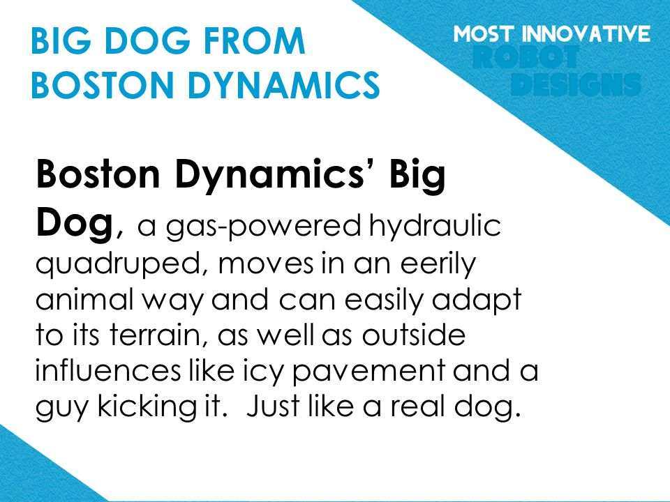 Boston Dynamics' Big Dog, a gas-powered hydraulic quadruped, moves in an eerily animal way and can easily adapt to its terrain, as well as outside influences like icy pavement and a guy kicking it.