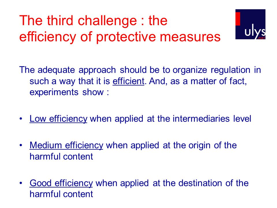 The third challenge : the efficiency of protective measures The adequate approach should be to organize regulation in such a way that it is efficient.