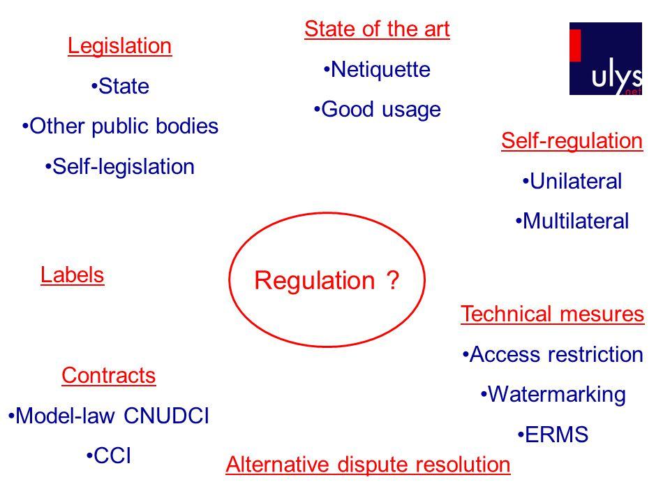 Legislation State Other public bodies Self-legislation Self-regulation Unilateral Multilateral Contracts Model-law CNUDCI CCI Labels Alternative dispute resolution Technical mesures Access restriction Watermarking ERMS Regulation .