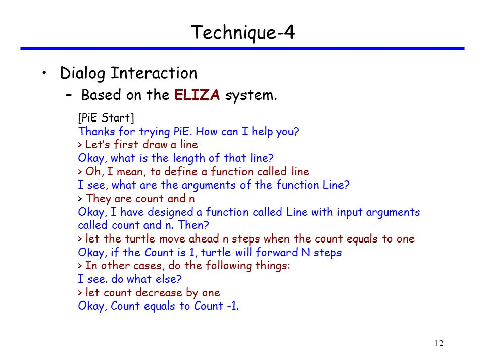 Technique-4 Dialog Interaction –Based on the ELIZA system.