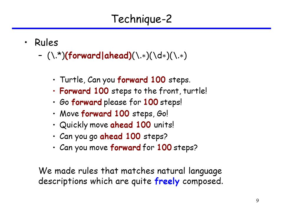 Technique-2 Rules –(\.∗ )(turn|rotate)(\d ∗ )(.*)(left|right)(\.