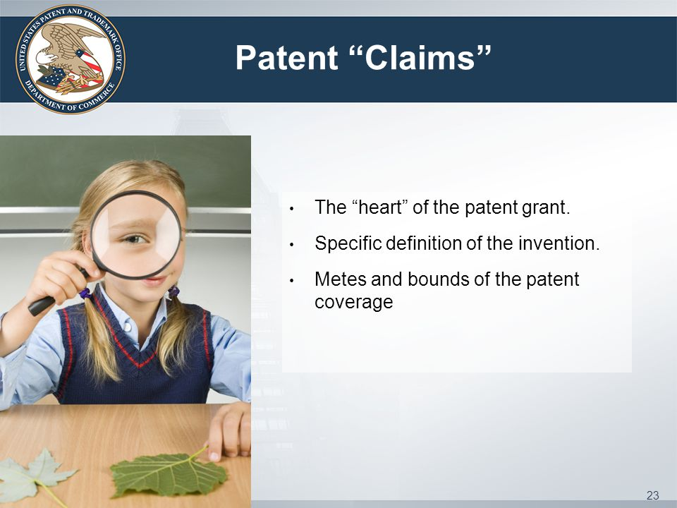 Patent Claims The heart of the patent grant. Specific definition of the invention.