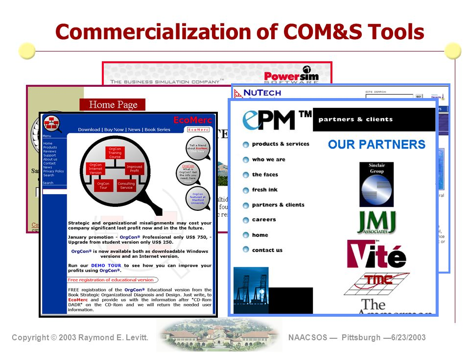 Copyright 2002 Vite' Corp Copyright © 2003 Raymond E. Levitt. NAACSOS — Pittsburgh —6/23/2003 Commercialization of COM&S Tools