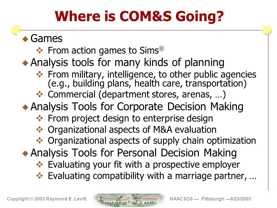 Copyright 2002 Vite' Corp Copyright © 2003 Raymond E. Levitt. NAACSOS — Pittsburgh —6/23/2003 Where is COM&S Going? u Games  From action games to Sim