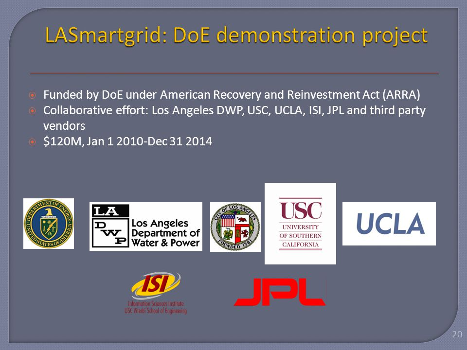  Funded by DoE under American Recovery and Reinvestment Act (ARRA)  Collaborative effort: Los Angeles DWP, USC, UCLA, ISI, JPL and third party vendo