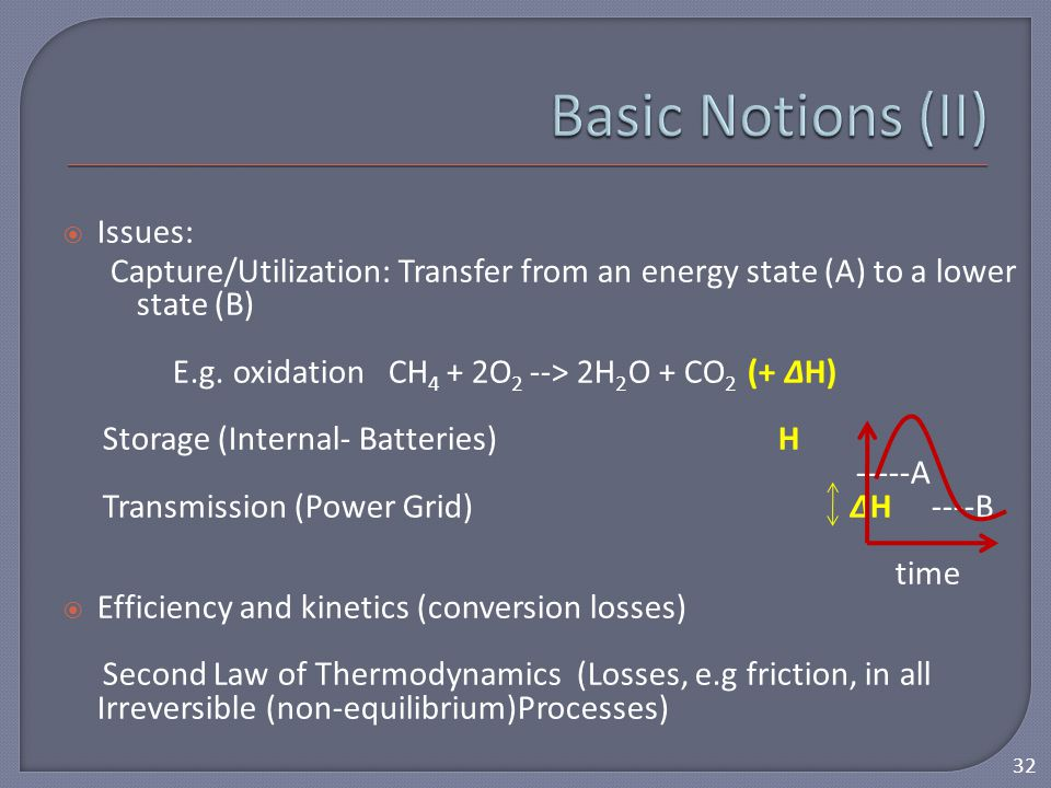  Issues: Capture/Utilization: Transfer from an energy state (A) to a lower state (B) E.g. oxidation CH 4 + 2O 2 --> 2H 2 O + CO 2 (+ ΔH) Storage (Int