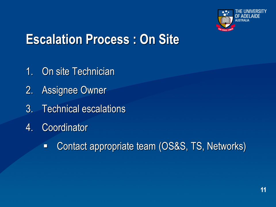 11 Escalation Process : On Site 1.On site Technician 2.Assignee Owner 3.Technical escalations 4.Coordinator  Contact appropriate team (OS&S, TS, Netw