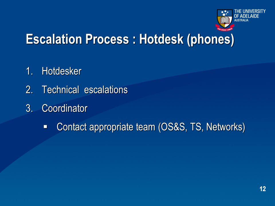 12 Escalation Process : Hotdesk (phones) 1.Hotdesker 2.Technical escalations 3.Coordinator  Contact appropriate team (OS&S, TS, Networks)
