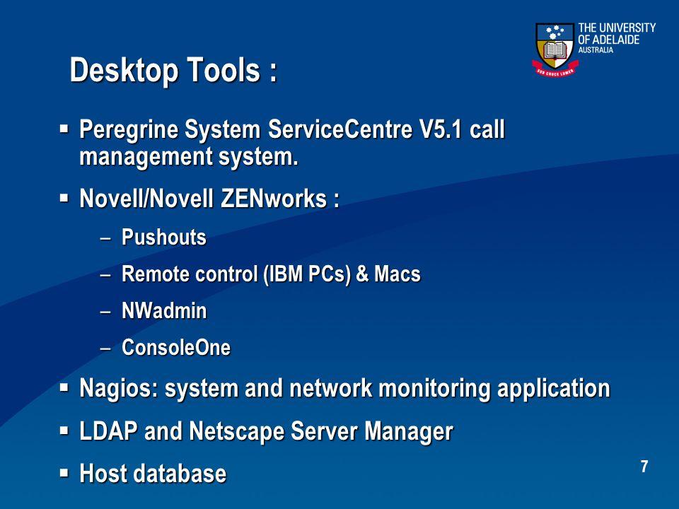 7 Desktop Tools :  Peregrine System ServiceCentre V5.1 call management system.