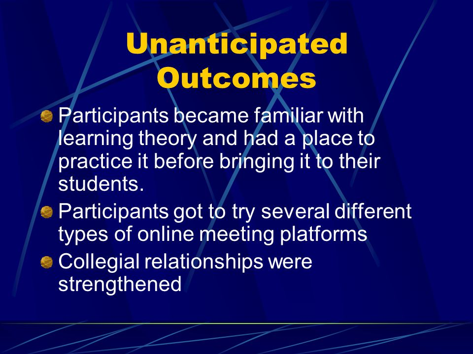 Unanticipated Outcomes Participants became familiar with learning theory and had a place to practice it before bringing it to their students.