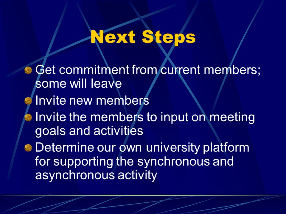 Next Steps Get commitment from current members; some will leave Invite new members Invite the members to input on meeting goals and activities Determi