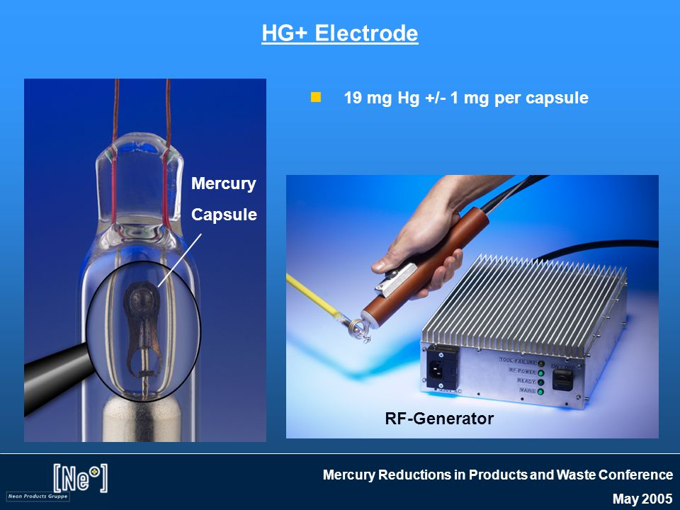 Mercury Reductions in Products and Waste Conference May 2005 HG+ Electrode 19 mg Hg +/- 1 mg per capsule Mercury Capsule RF-Generator
