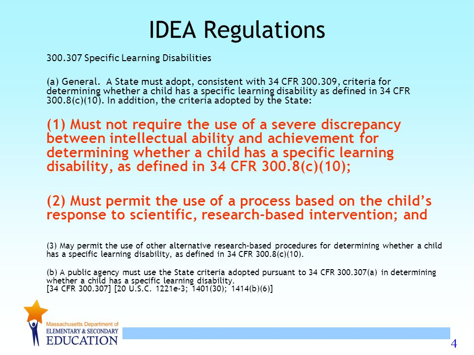 4 IDEA Regulations Specific Learning Disabilities (a) General.