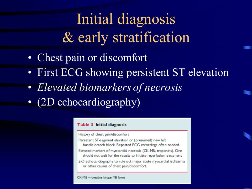 Initial diagnosis & early stratification Chest pain or discomfort First ECG showing persistent ST elevation Elevated biomarkers of necrosis (2D echocardiography)