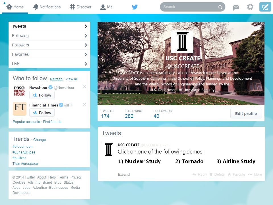 TWITTER EDITION BEHAVIORAL ANALYSIS IN RISK MANAGEMENT CREATE HOMELAND SECURITY CENTER Continue