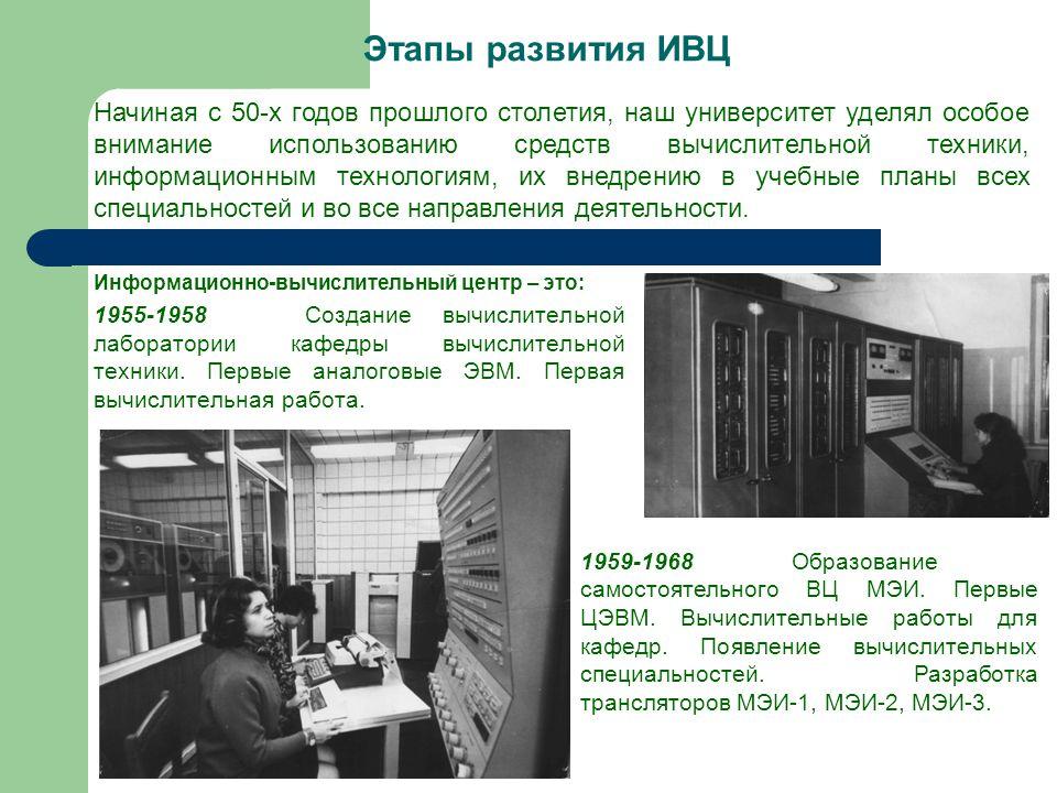 Этапы развития ИВЦ Информационно-вычислительный центр – это: 1955-1958Создание вычислительной лаборатории кафедры вычислительной техники.