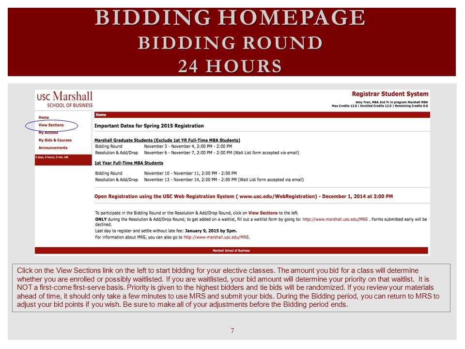 BIDDING HOMEPAGE BIDDING ROUND 24 HOURS Click on the View Sections link on the left to start bidding for your elective classes. The amount you bid for