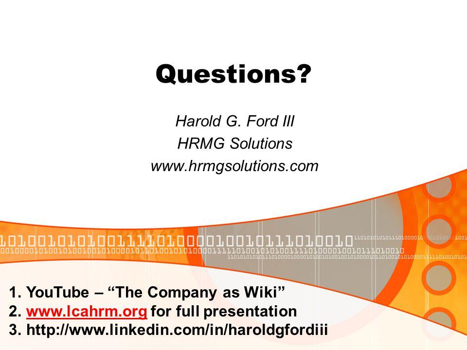 Questions. Harold G.