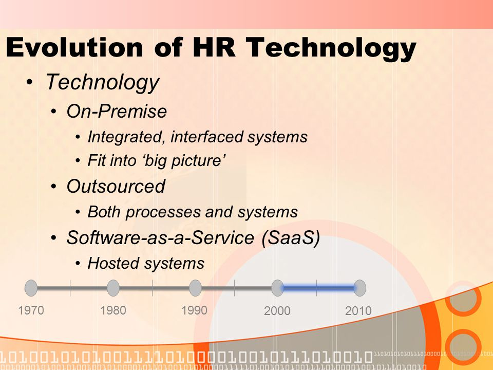 Evolution of HR Technology Technology On-Premise Integrated, interfaced systems Fit into 'big picture' Outsourced Both processes and systems Software-as-a-Service (SaaS) Hosted systems 197019801990 20002010