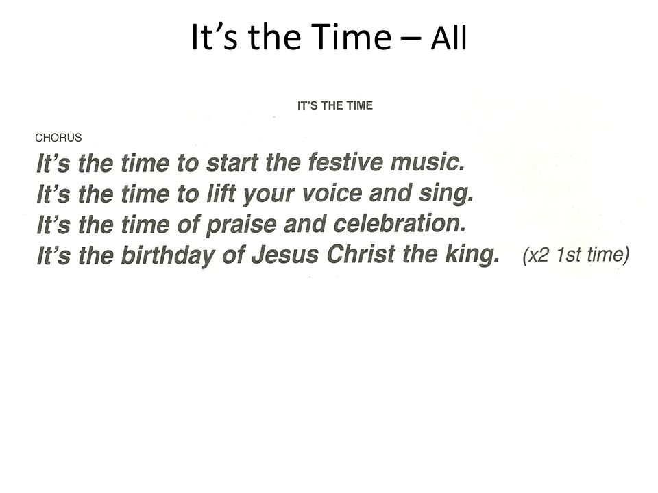 It's the Time – All