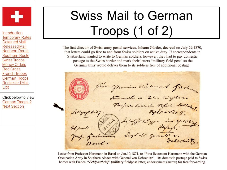 Introduction Temporary Rates Detained Mail Released Mail Northern Route Southern Route Swiss Troops Money Orders Red Cross French Troops German Troops Redirected Mail Exit Swiss Mail to German Troops (1 of 2) Click below to view German Troops 2 Next Section