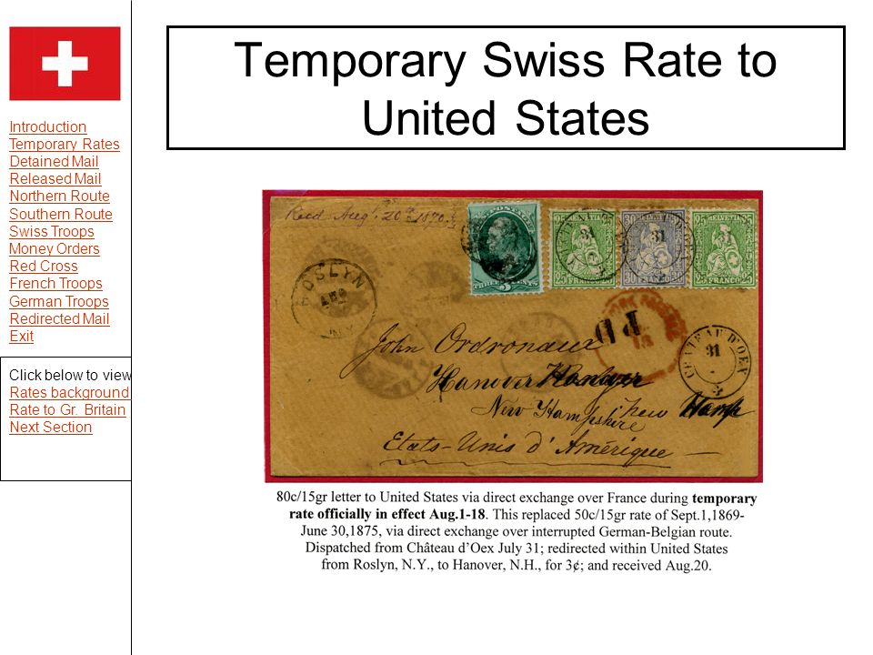 Introduction Temporary Rates Detained Mail Released Mail Northern Route Southern Route Swiss Troops Money Orders Red Cross French Troops German Troops Redirected Mail Exit Temporary Swiss Rate to United States Click below to view Rates background Rate to Gr.